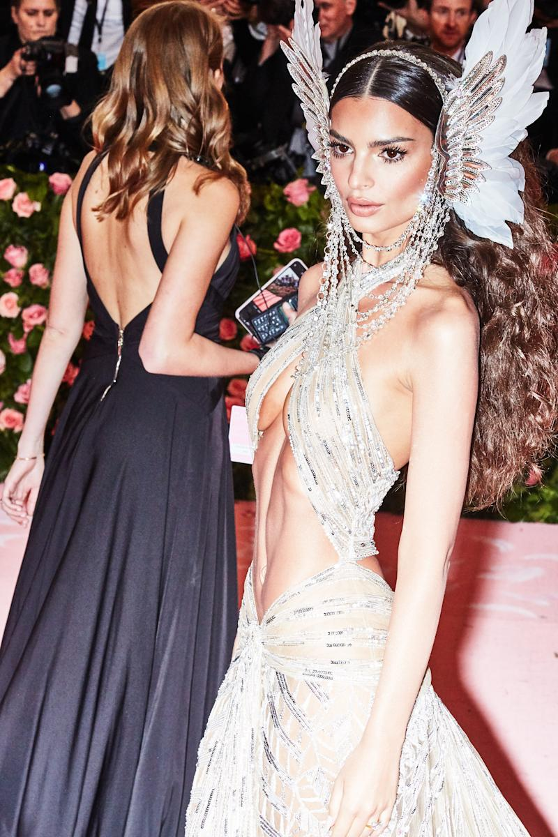 Emily Ratajkowski on the red carpet at the Met Gala in New York City on Monday, May 6th, 2019. Photograph by Amy Lombard for W Magazine.