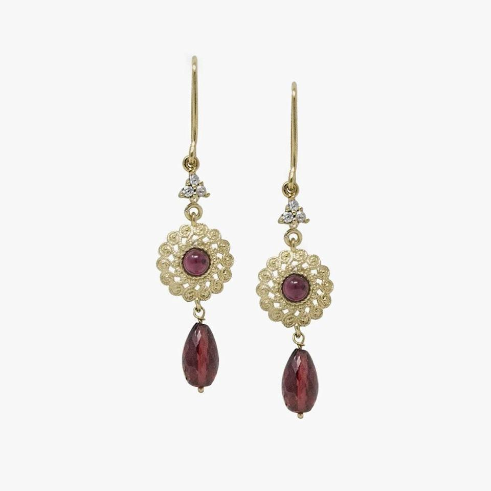 "$149, WOLF & BADGER. <a href=""https://www.wolfandbadger.com/us/filigrana-gold-plated-garnet-earrings/?result_index=46&query_id=f0ee19b1f7596695d9bf4233baebb81a"" rel=""nofollow noopener"" target=""_blank"" data-ylk=""slk:Get it now!"" class=""link rapid-noclick-resp"">Get it now!</a>"