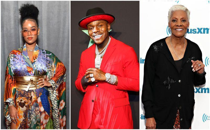 H.E.R. attends the 62nd Annual GRAMMY Awards on January 26, 2020 in Los Angeles, California; DaBaby poses in the press room at the 2019 BET Awards on June 23, 2019 in Los Angeles, California; Dionne Warwick visits SiriusXM's Soul Town channel on March 28, 2019 in New York City.