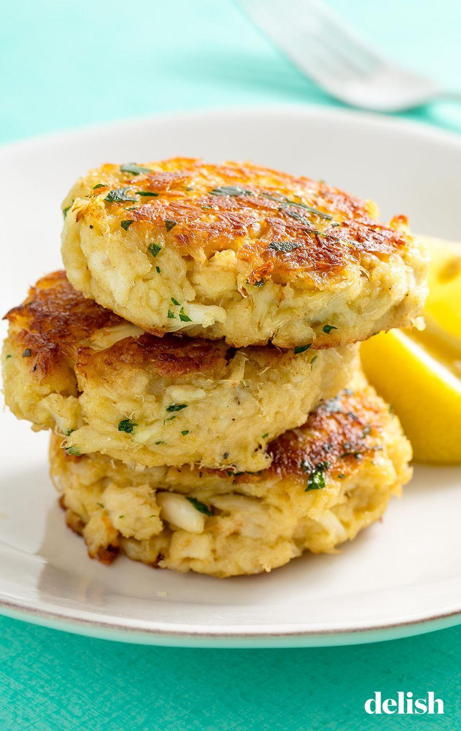 """<p>We promise they're easier to whip up than you'd expect! </p><p>Get the recipe from <a href=""""https://www.delish.com/cooking/recipe-ideas/recipes/a58704/best-crab-cakes-recipe/"""" rel=""""nofollow noopener"""" target=""""_blank"""" data-ylk=""""slk:Delish"""" class=""""link rapid-noclick-resp"""">Delish</a>.</p>"""
