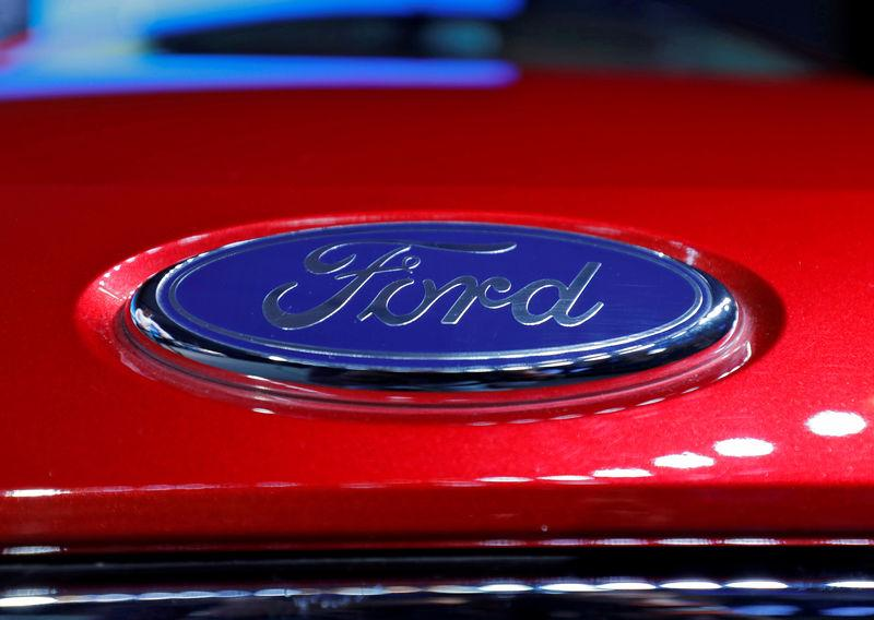 FILE PHOTO: The logo is seen on the bonnet of a new Ford Aspire car during its launch in New Delhi