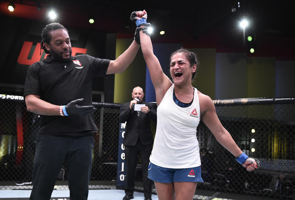 LAS VEGAS, NEVADA - JUNE 13: Cynthia Calvillo reacts after her decision victory over Jessica Eye in their flyweight fight during the UFC Fight Night event at UFC APEX on June 13, 2020 in Las Vegas, Nevada. (Photo by Chris Unger/Zuffa LLC)