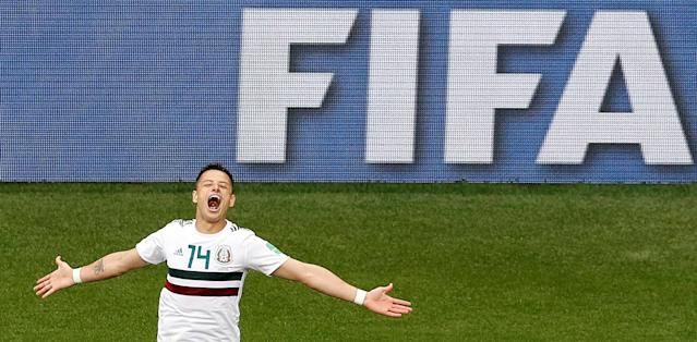 Soccer Football - World Cup - Group F - South Korea vs Mexico - Rostov Arena, Rostov-on-Don, Russia - June 23, 2018 Mexico's Javier Hernandez celebrates scoring their second goal REUTERS/Darren Staples TPX IMAGES OF THE DAY
