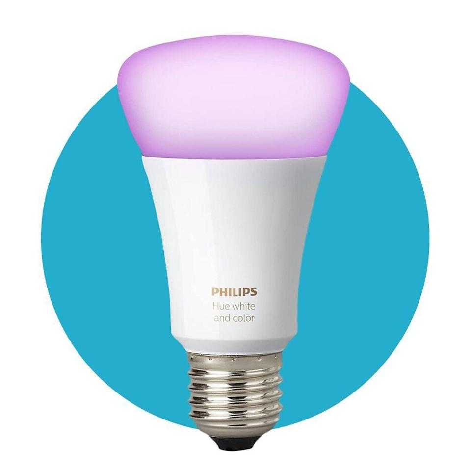 """<p><strong>Philips Hue</strong></p><p>philips-hue.com</p><p><strong>$19.99</strong></p><p><a href=""""https://go.redirectingat.com?id=74968X1596630&url=https%3A%2F%2Fwww.philips-hue.com%2Fen-us%2Fp%2Fhue-white-1-pack-a21-e26%2F046677557805&sref=https%3A%2F%2Fwww.bestproducts.com%2Flifestyle%2Fg34449251%2Fbest-of-the-best-2020%2F"""" rel=""""nofollow noopener"""" target=""""_blank"""" data-ylk=""""slk:Shop Now"""" class=""""link rapid-noclick-resp"""">Shop Now</a></p><p>The Philips Hue bulbs are the <a href=""""https://www.bestproducts.com/tech/gadgets/a31956029/philips-hue-smart-light-bulbs-review/"""" rel=""""nofollow noopener"""" target=""""_blank"""" data-ylk=""""slk:best smart lighting option"""" class=""""link rapid-noclick-resp"""">best smart lighting option</a>. They glow in millions of colors (including thousands of shades of white). They're easy to install, and you can control them using voice commands with your smart speakers.</p>"""