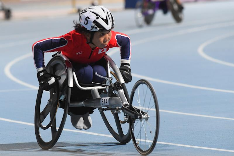 DUBAI, UNITED ARAB EMIRATES - NOVEMBER 14: Teruyo Tanaka of Japan competes in the Women's 100m T52 Final on day seven of the World Para Athletics Championships at the Dubai Club for People with Determination on November 11, 2019 in Dubai, United Arab Emirates. (Photo by Moto Yoshimura/Getty Images)
