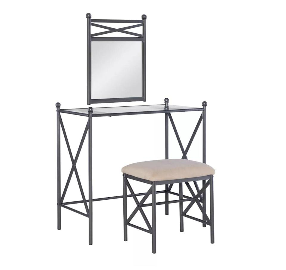 <p>Mordernists will appreciate the style of this gray <span>Linon Marnie Vanity Set Pewter</span> ($160). </p>
