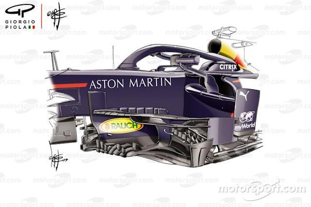 """Red Bull RB15 new bargeboard, Russian GP <span class=""""copyright"""">Giorgio Piola</span>"""