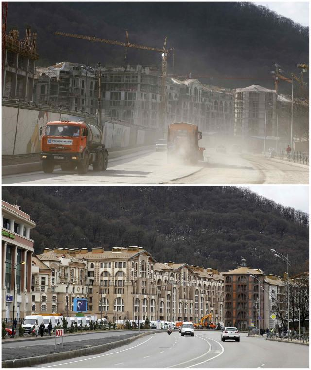 A combination of two pictures shows the development of construction within the last eleven months in the village of Krasnaya Polyana near Sochi, January 30, 2014. Picture on the top was taken in February 2013. Sochi will host the 2014 Winter Olympic Games from February 7 to 23. REUTERS/Kai Pfaffenbach (RUSSIA - Tags: SPORT OLYMPICS BUSINESS CONSTRUCTION)