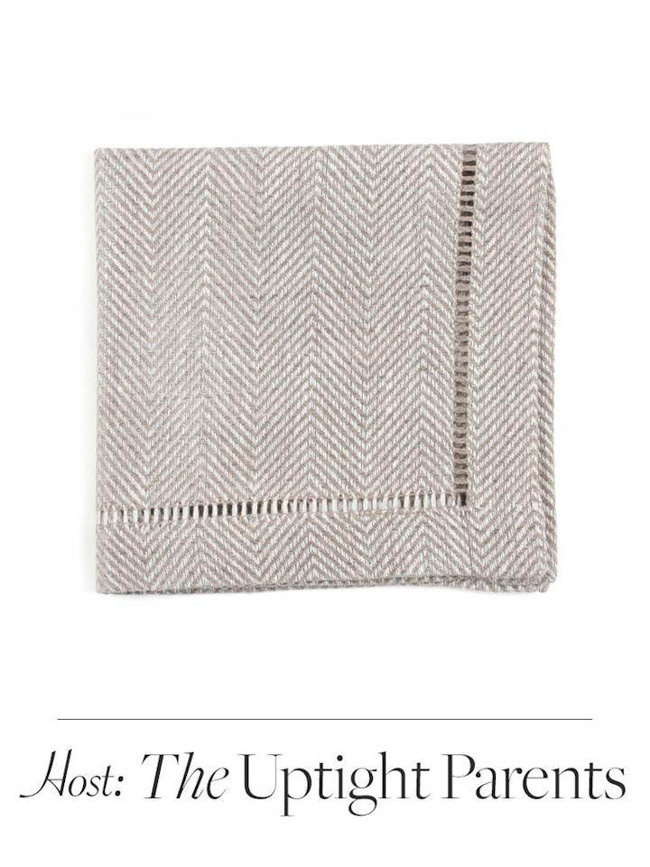 Linen cocktail napkins are a traditional Emily Post-era gift—and something fancy parents can't get enough of. Barney's sells crisp basics and whimsical zodiac-emblazoned squares. $10 each