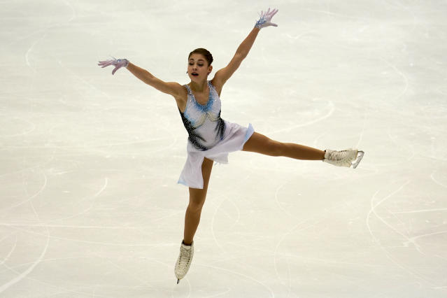 Alena Kostornaia of Russia performs in the ladies short program during the ISU Grand Prix of Figure Skating in Sapporo, northern Japan, Friday, Nov. 22, 2019. (AP Photo/Toru Hanai)
