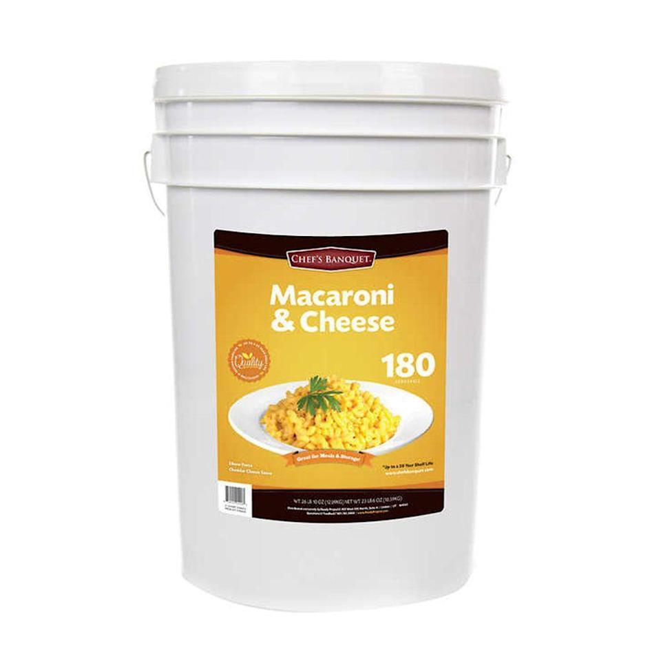 """<p>What's better than one serving of macaroni and cheese? 180 servings! And that's what you're getting with this 6-gallon bucket of cheesy goodness. Learn more about the <a href=""""https://www.bestproducts.com/lifestyle/a25836526/costco-chefs-banquet-27-pound-bucket-macaroni-and-cheese/"""" rel=""""nofollow noopener"""" target=""""_blank"""" data-ylk=""""slk:27-Pound Bucket of Macaroni & Cheese"""" class=""""link rapid-noclick-resp"""">27-Pound Bucket of Macaroni & Cheese</a> here!</p>"""
