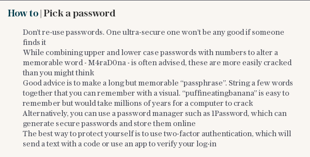 How to | Pick a password
