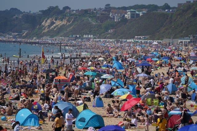 A busy Bournemouth beach on Monday afternoon