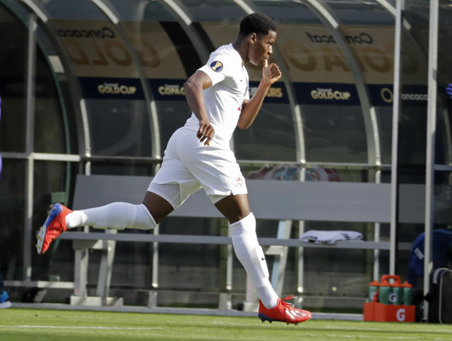 Canada's Jonathan David celebrates his goal against Cuba during the first half of their CONCACAF Golf Cup soccer match in Charlotte, N.C., Sunday, June 23, 2019. (AP Photo/Chuck Burton)