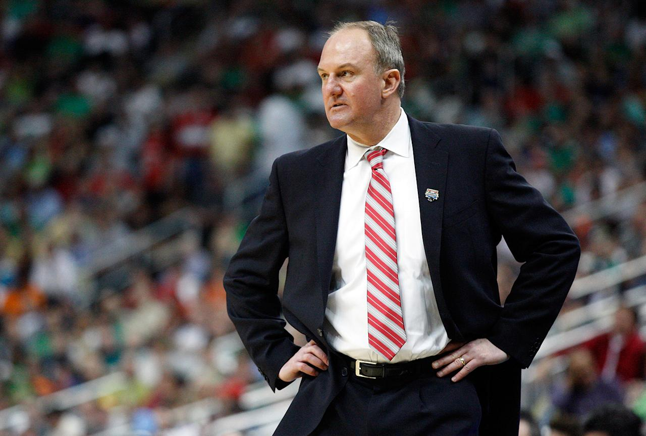 Head coach Thad Matta of the Ohio State Buckeyes looks on from the bench in the first half against the Gonzaga Bulldogs during the third round of the 2012 NCAA Men's Basketball Tournament at Consol Energy Center on March 17, 2012 in Pittsburgh, Pennsylvania.  (Photo by Jared Wickerham/Getty Images)