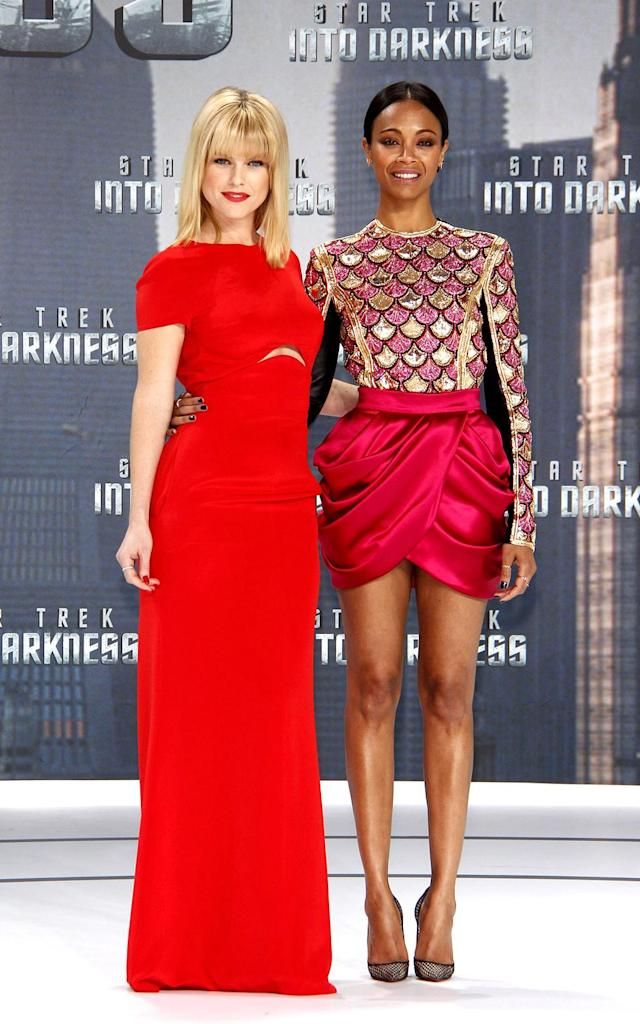 <p><em><em>Saldana reprised her role as Uhura in <em>Star Trek Into Darkness</em>. She and co-star Alice Eve stunned at the German premiere on April 29, 2013. (Photo: Anita Bugge/WireImage) </em></em></p>