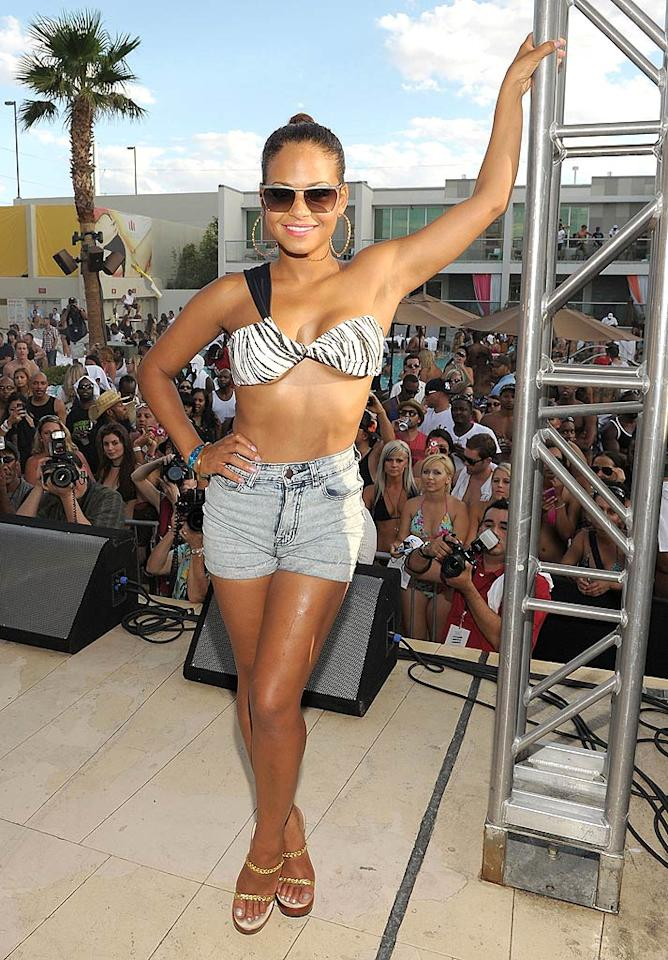 "Christina Milian showed off her bikini bod in a pair of Daisy Dukes while on stage at Diddy's party. ""@iamdiddy had the Palms pool rocking!"" Christina tweeted from the big bash. Denise Truscello/<a href=""http://www.wireimage.com"" target=""new"">WireImage.com</a> - September 4, 2011"