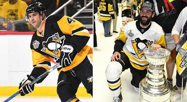Justin Schultz during Game 1 against the Blue Jackets (Joe Sargent/Getty) vs. Justin Schultz after Game 6 of the Stanley Cup Final (Bruce Bennett/Getty).