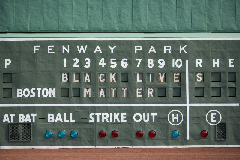 BOSTON, MA - JUNE 2: A Black Lives Matter message is displayed on the Green Monster scoreboard in response to the recent death of George Floyd on June 2, 2020 at Fenway Park in Boston, Massachusetts. Protests spread across cities in the U.S., and in other parts of the world in response to the death of African American George Floyd while in police custody in Minneapolis, Minnesota. (Photo by Billie Weiss/Boston Red Sox/Getty Images)