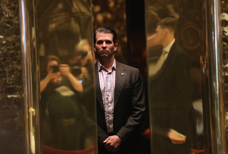 Donald Trump Jr. arrives at Trump Tower on January 18, 2017 in New York City. President-elect Donald Trump is to be sworn in as the 45th President of the United States on January 20. | John Moore—Getty Images