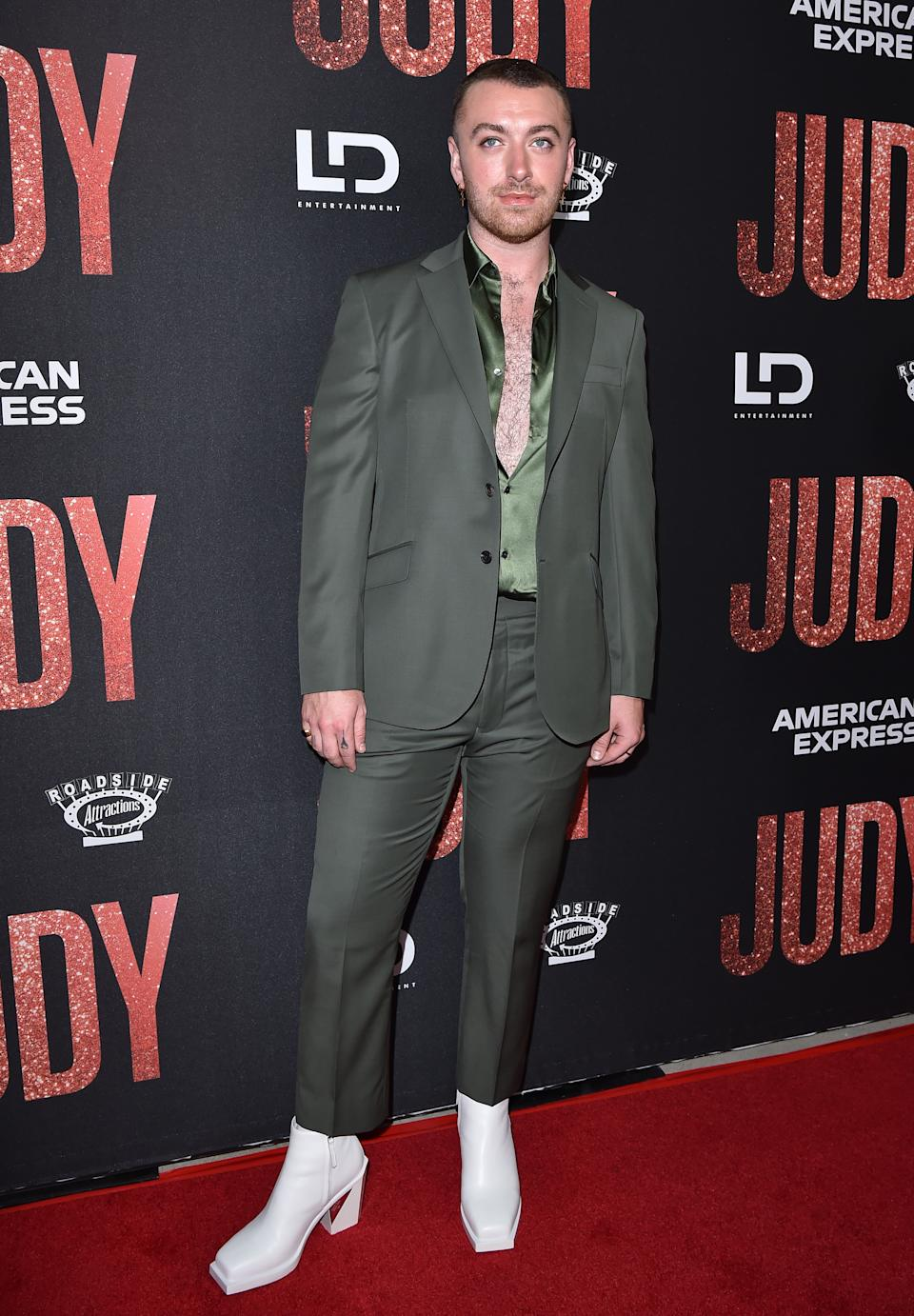 """BEVERLY HILLS, CALIFORNIA - SEPTEMBER 19: Sam Smith attends the LA Premiere of Roadside Attraction's """"Judy"""" at Samuel Goldwyn Theater on September 19, 2019 in Beverly Hills, California. (Photo by Axelle/Bauer-Griffin/FilmMagic)"""