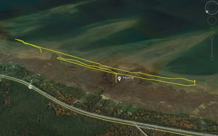 The drone's trajectory before its fatal battle. / Credit: Michigan Department of Environment, Great Lakes, and Energy (EGLE)