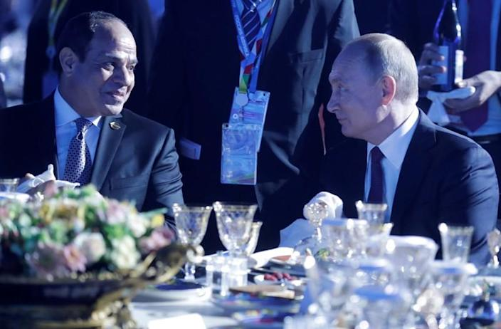 Russian President Vladimir Putin and Egyptian President Abdel Fattah al-Sisi attend a reception to honour participants of the Russia–Africa Summit in Sochi