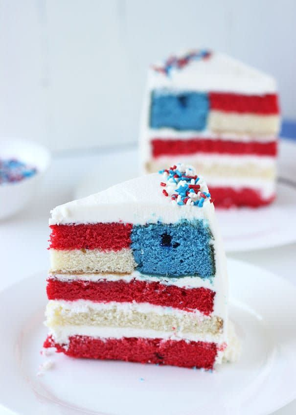 "<p>For the ambitious American, test your baking skills with this advanced cake design.</p><p><em><a href=""http://blahnikbaker.com/red-white-blue-layered-flag-cake/"" rel=""nofollow noopener"" target=""_blank"" data-ylk=""slk:Get the recipe from Blahnik Baker »"" class=""link rapid-noclick-resp"">Get the recipe from Blahnik Baker »</a></em></p>"