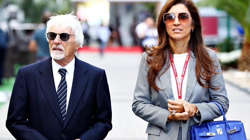 Bernie Ecclestone and wife Fabiana, pictured here at the Russian Grand Prix in 2019.