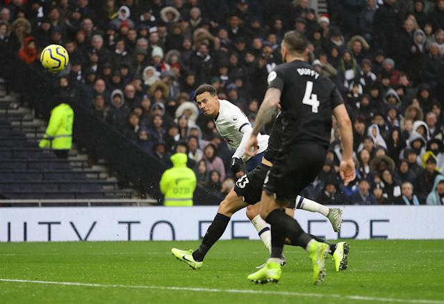 Dele Alli scores his teams second goal (Credit: Getty Images)
