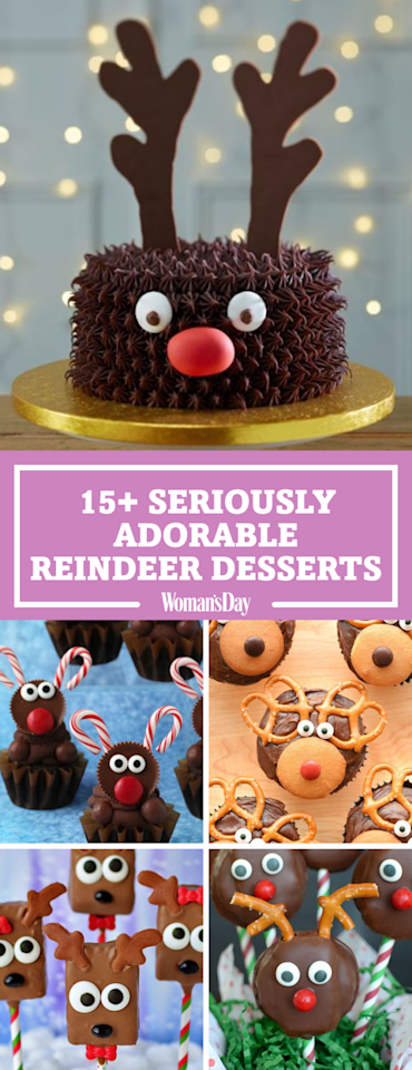 """<p>Save these reindeer dessert recipes for later! Don't forget to <a rel=""""nofollow"""" href=""""https://www.pinterest.com/womansday/"""">follow <em>Woman's Day</em> on Pinterest</a> for more great recipes.<span></span></p>"""