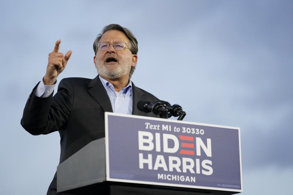 Sen. Gary Peters, D-Mich., speaks during an event for Democratic presidential candidate former Vice President Joe Biden at Michigan State Fairgrounds in Novi, Mich., on Oct. 16, 2020. (Carolyn Kaster/AP)