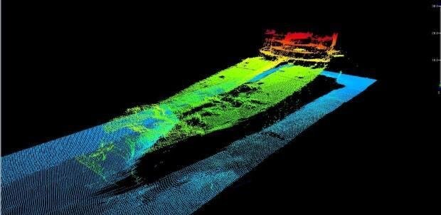 A sunken ship, illustrated here by sonar imagery, was discovered in the Flemish Pass Basin as part of a geographical seabed survey on July 13. (Submitted by Equinor - image credit)