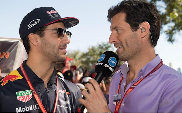 <span>Daniel Ricciardo is interviewed by compatriot Mark Webber after crashing out of qualifying at the Australian Grand Prix</span> <span>Credit: Rex features </span>