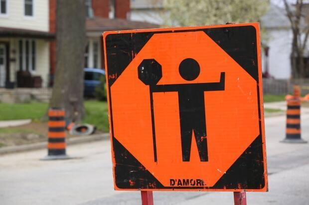 A construction sign is seen in a file photo. The city of Windsor has announced the reconstruction of Eastlawn Avenue. (Sanjay Maru/CBC - image credit)