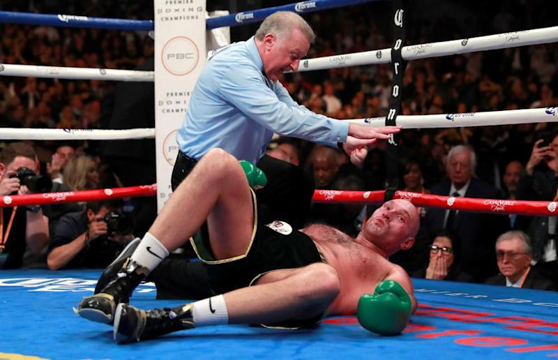 Tyson Fury on the canvas during his first, drawn encounter with Deontay Wilder in Los Angeles in 2018.