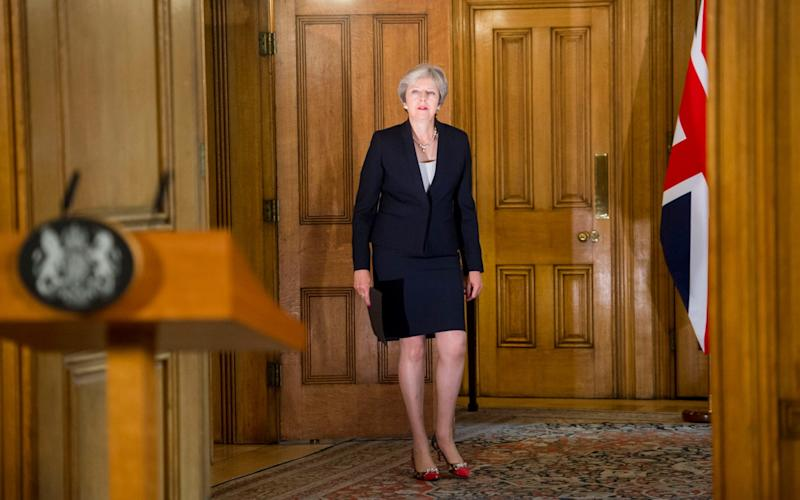 Theresa May arrives to make a statement at Downing Street - Paul Grover for the Telegraph