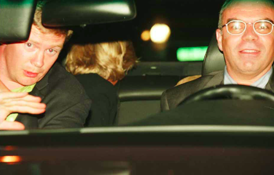 Mr Rees, left, Diana and the driver of the car, Henri Paul (Picture: Rex)