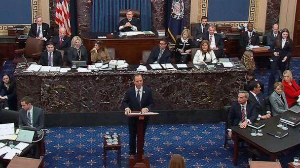 PHOTO: Lead manager House Intelligence Committee Chairman Adam Schiff (D-CA) delivers an opening argument during the second day of the Senate impeachment trial of President Donald Trump in this frame grab from video shot at the Capitol, Jan. 22, 2020. (Reuters)