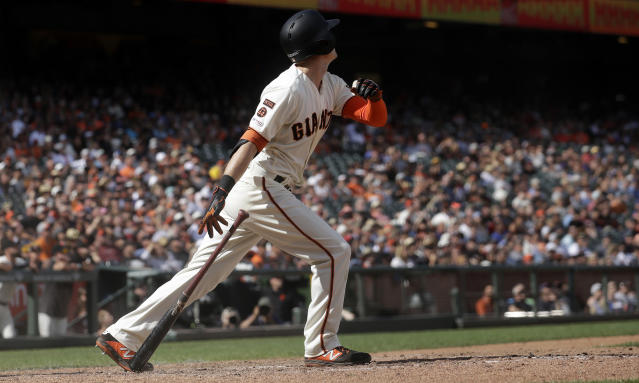 San Francisco Giants' Mike Yastrzemski hits a solo home run against the New York Mets during the 12th inning of a baseball game in San Francisco, Sunday, July 21, 2019. (AP Photo/Jeff Chiu)