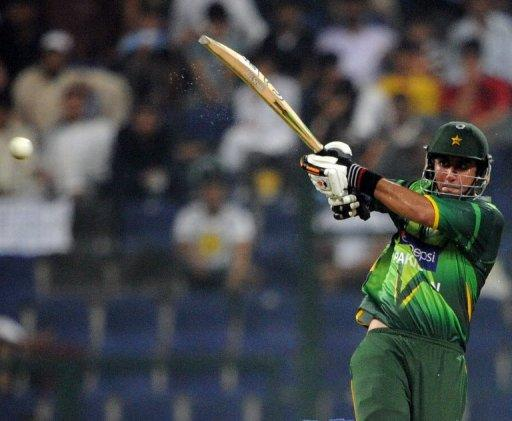Pakistani batsman Nasir Jamshed plays a shot
