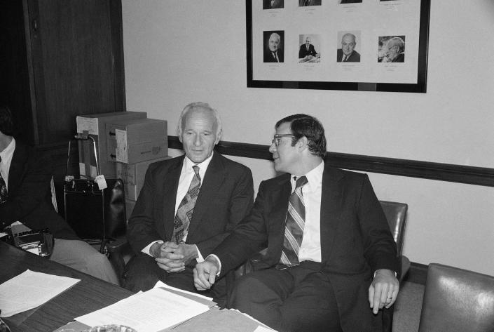 Gottlieb, left, a former CIA scientific chief, talks with his attorney, Terry Lenzner, before testifying to a Senate health subcommittee on Sept. 21, 1977. (AP)