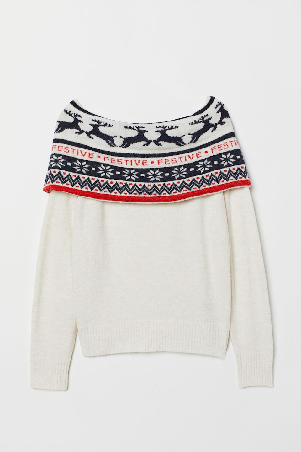 H&M Off-the-shoulder Sweater. (Photo: H&M)
