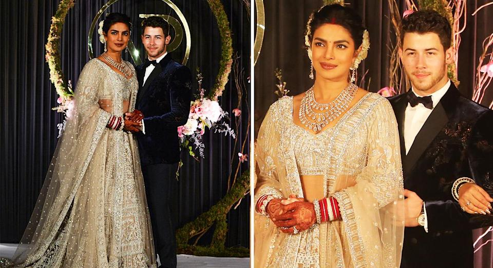 Priyanka Chopra wore a traditional Indian outfit at her wedding reception. [Photo: Getty]
