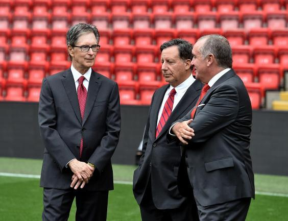 Liverpool's principal owner John Henry (left) at Anfield (Liverpool FC via Getty Images)
