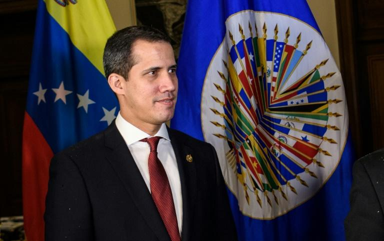 Venezuela opposition leader Juan Guaido, who is considered interim president by some 60 countries, visits the Organization of American States in Washington on February 6 (AFP Photo/MANDEL NGAN)