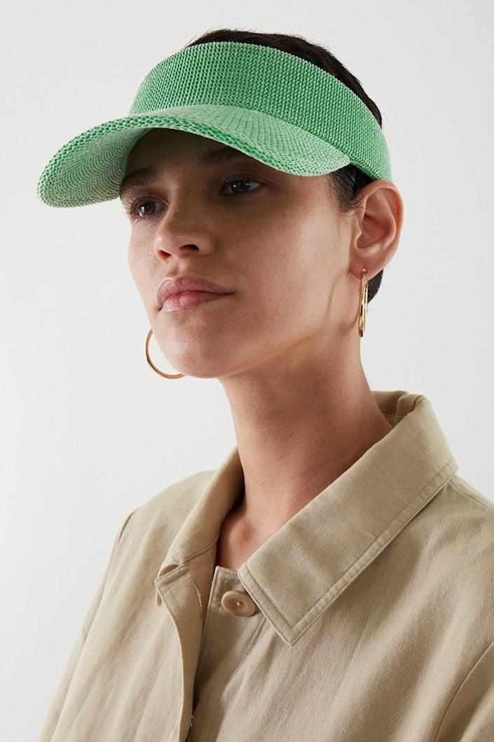 """<h2>Visors</h2>Another place that golf and tennis looks often overlap? The visor. Players appreciate the visor because it not only keeps the sun out of their eyes but unlike the regular baseball cap or dad hat, the crownless style of the visor allows for better top-of-head ventilation. This preppy staple also is a sun-safe summer accessory: win/win. <br><br><strong>COS</strong> MESH VISOR, $, available at <a href=""""https://go.skimresources.com/?id=30283X879131&url=https%3A%2F%2Fwww.cosstores.com%2Fen_usd%2Fwomen%2Faccessories%2Fhats-scarves-and-gloves%2Fhats%2Fproduct.mesh-visor-green.0992813001.html"""" rel=""""nofollow noopener"""" target=""""_blank"""" data-ylk=""""slk:COS"""" class=""""link rapid-noclick-resp"""">COS</a>"""
