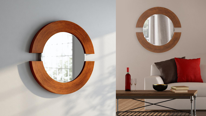 The design of this mirror could be reminiscent of two mounted horseshoes facing each other.