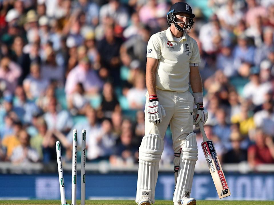 England's captain Joe Root reacts after losing his wicket: AFP/Getty Images