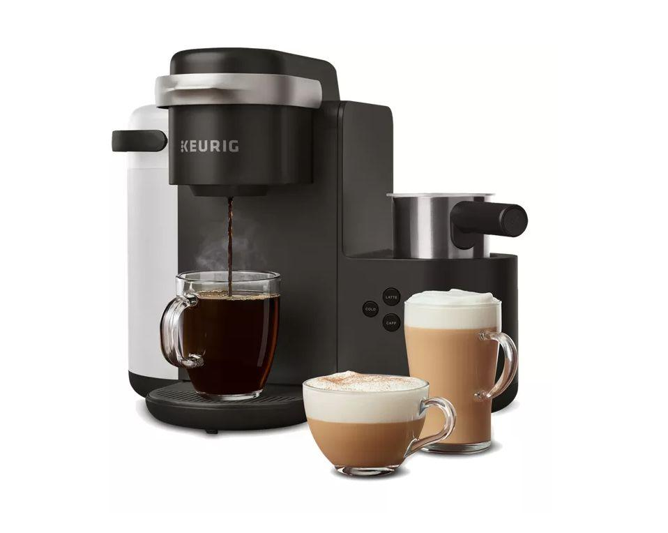 """Get the <a href=""""https://fave.co/3pS0I3s"""" target=""""_blank"""" rel=""""noopener noreferrer"""">KEURIG K-Café Single Serve Coffee, Latte & Cappuccino Maker on sale for $99</a>when you build a starter kit (normally $200) at Keurig."""